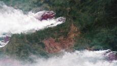 Zdjęcie satelitarne pożarów w Jakucji w Rosji (PAP/EPA/ROSCOSMOS HANDOUT)