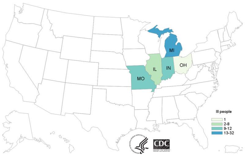 Stany, w których odnotowano przypadki zakażenia bakterią salmonelli (CDC)