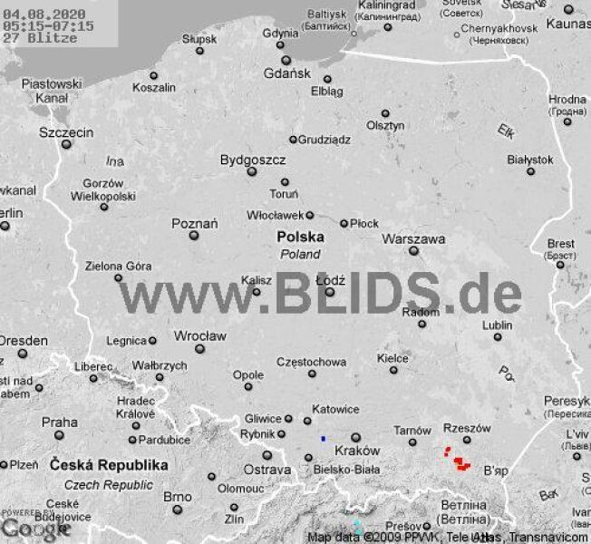 Ścieżka burz nad Polską (godz. 05.15-07.15) (blids.de)