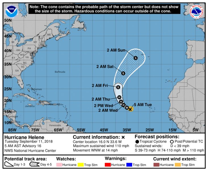 Prognozowana ścieżka przejścia huraganu Helene (NHC)