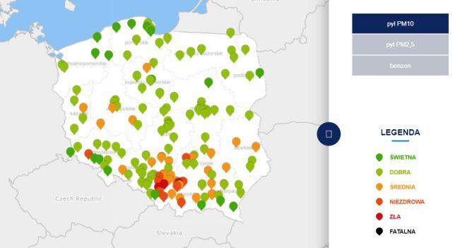 Stężenie pyłu PM10 w czwartek o godzinie 6 (tvnmeteo.pl za GIOŚ)
