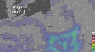 Potencjalne burze w pierwszych dniach majowego weekendu (Ventusky.com | wideo bez dźwięku)